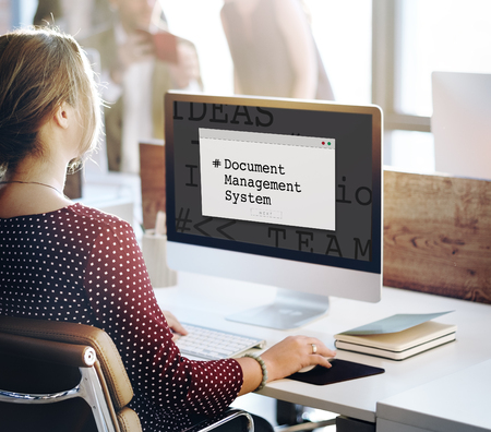 Document Management System Window Popup Stock Photo