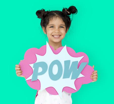 Little GIrl Smiling Happiness Playful Pow Comic Speech Bubble Reklamní fotografie