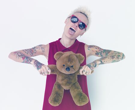 Caucasian blonde women with teddy bear Banco de Imagens