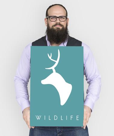 人々 は愛する野生動物緑鹿グラフィック