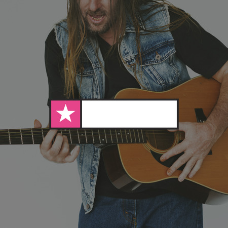 Guitarist Playing Music Banner Frame Banco de Imagens