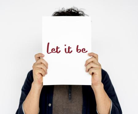 let: Person Holding Placard Studio Concept