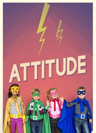 superheroes: Group of superheroes kids with aspiration word graphic