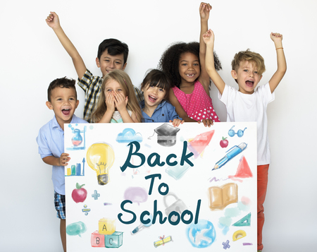 Kids Back To School Education Study Graphic Reklamní fotografie
