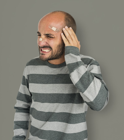 headaches: Male Stress Trouble Unhappy Problem Concept