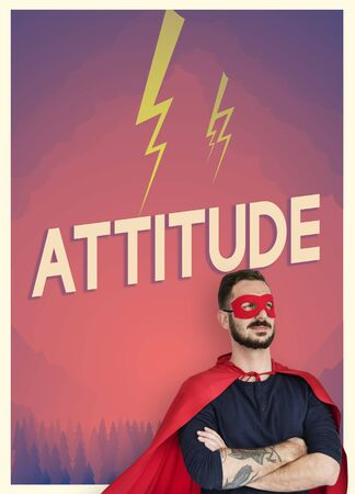super man: People with superhero custome and motivation word graphic Stock Photo