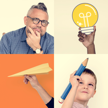 study: COllage of people ideas thinking innovation