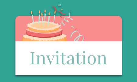 Illustration of birthday party event celebration with cake