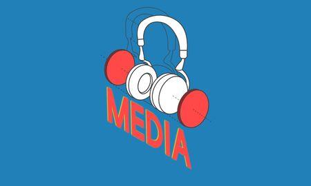 音楽エンターテイメントのヘッドフォン アイコン グラフィック 写真素材