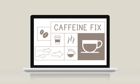 brewed: Illustration of coffee shop advertisement on laptop