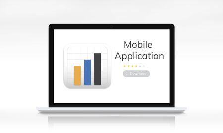 Illustration of mobile application graph download on laptop Imagens