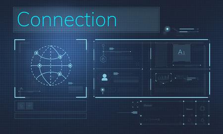 通信: Illustration of global communications network connection