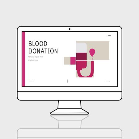 コンピューターに献血キャンペーンのイラスト 写真素材