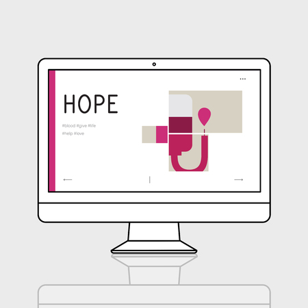 Illustration of blood donation campaign on computer