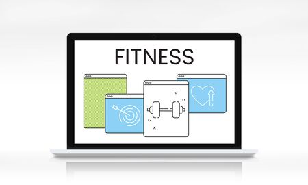 Healthy lifestyle fitness website homepage application Imagens - 80789473