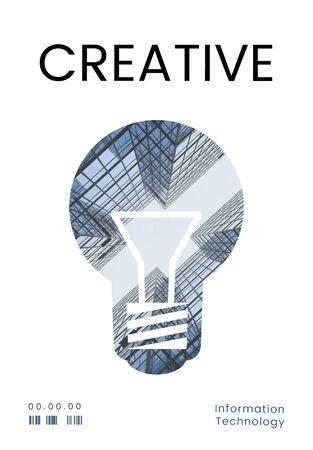 創造的なアイデアのデジタル テクノロジーの電球のグラフィック 写真素材