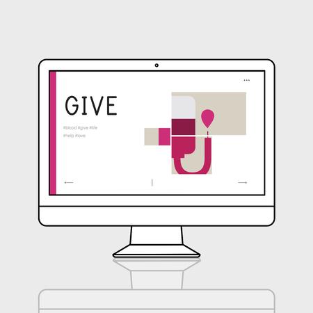 Illustration de la campagne de don de sang sur ordinateur Banque d'images - 80789524