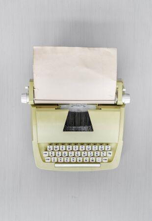 Retro Typewriter Machine on Gray Table