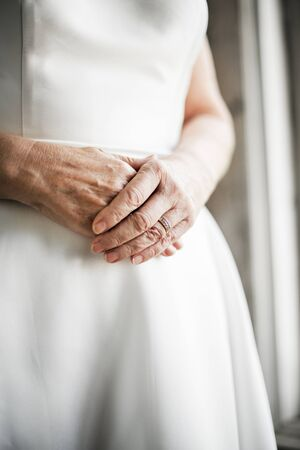 Closeup woman hands with wedding ring Stock Photo - 80894867