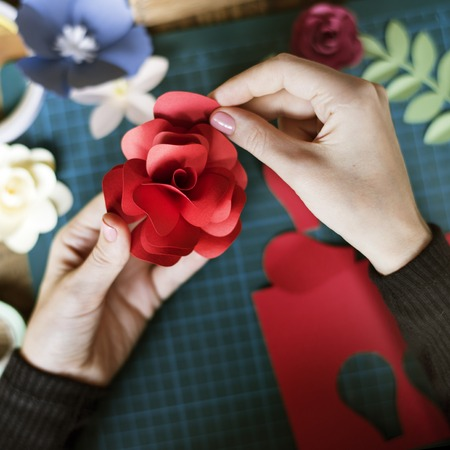 People Making Paper Craft Flower Art Stock Photo Picture And