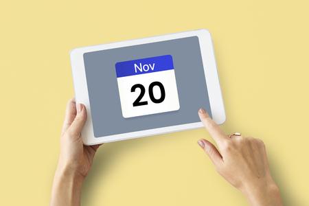Illustration of calendar schedule personal organizer on digital tablet