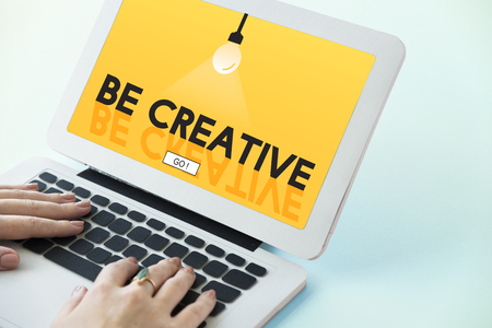 Laptop with be creative concept