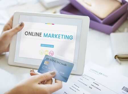 Illustration of onine marketing global business