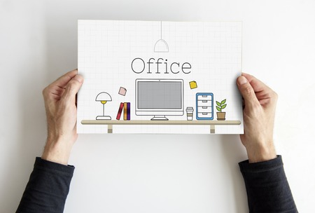 Office contemporaty desk working place Stock Photo