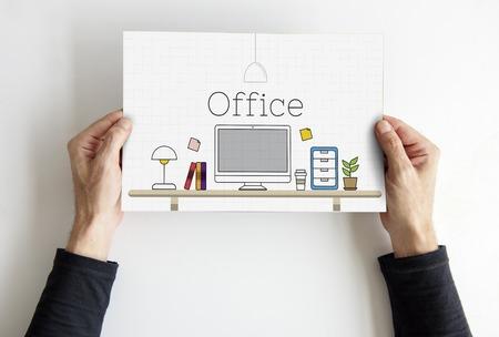 Office contemporaty desk working place Reklamní fotografie