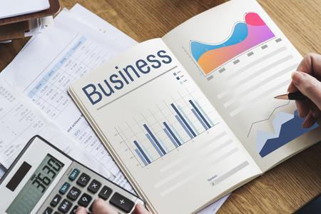 Illustration of business chart progress growth