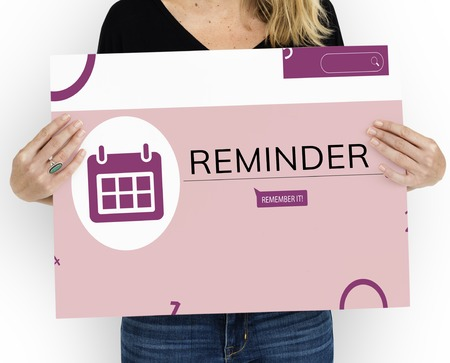 Woman holding banner of personal organizer reminder calendar illustration Stock Photo