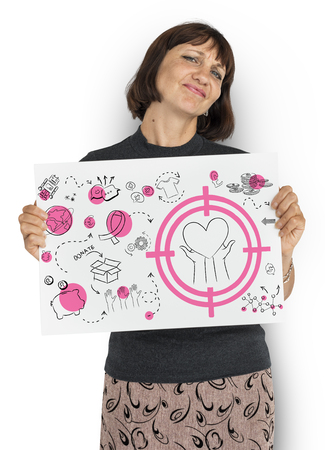 Woman holding a paper with charity concept Stock Photo