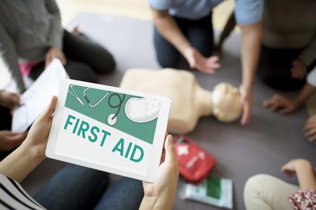 Illustratie van gezondheidszorg medicatie eerste hulp kit Stockfoto