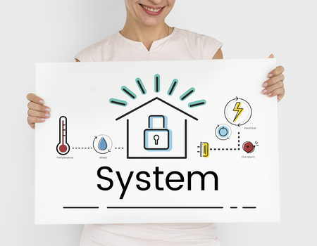 Woman holding illustration of smart house invention automation technology banner Stock fotó