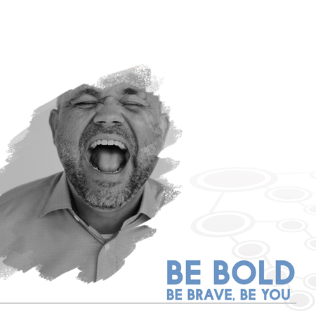 Be Bold Brave You Motivation Word on Shouting Man Backgroud Stock Photo
