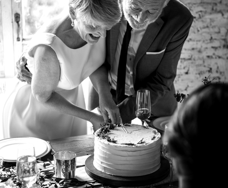Newlywed Couple Hands Cutting Cake Together Stock Photo - 80815087