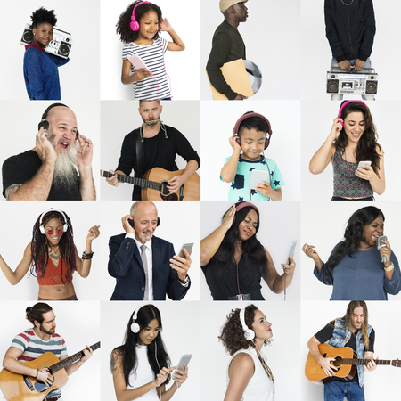 Set of Diversity People Listening Music Studio Collage