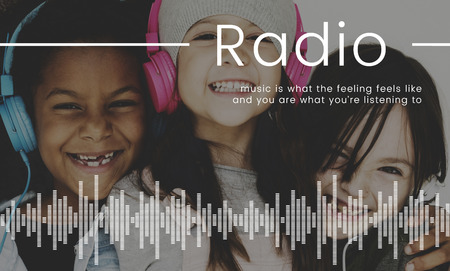 Children listening to music network connection graphic