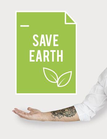 지구를 구하자. 지속 가능한 에너지 절약 생태 환경