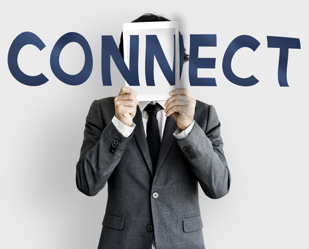 joining: Connect Social Media Communication Words Stock Photo