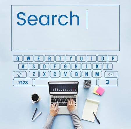 Search keyboard word alphabet finding Foto de archivo