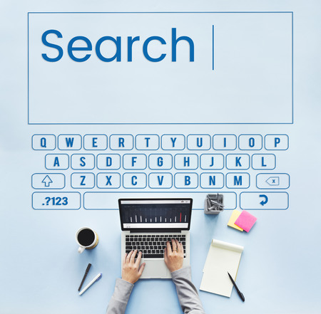Search keyboard word alphabet finding Stock Photo