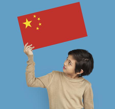 Boy Hands Hold China Flag Patriotism Reklamní fotografie