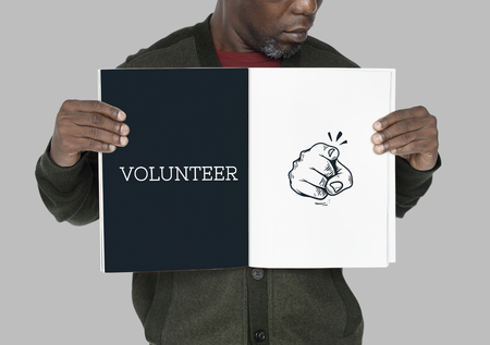 Illustration of pointing finger with volunteer step forward