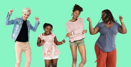 Group of women dancing happiness fun with music Stock Photo
