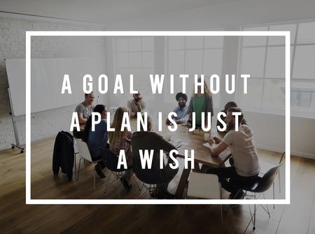 Goal Without Plan is slechts een citaat voor het citaat van het wensleven Stockfoto