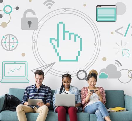 グローバル ポインターをネットワーク接続ソーシャル メディア 写真素材