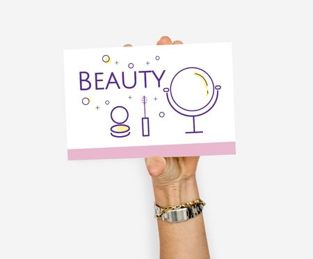 Hand holding illustration of beauty cosmetics makeover skincare banner