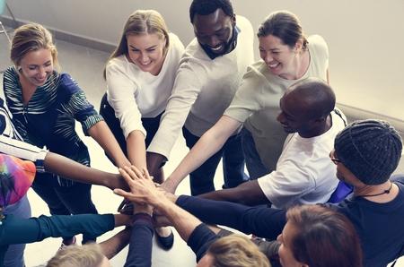 Uruchamianie Biznes Ludzie Praca zespołowa Współpraca Ręce Razem