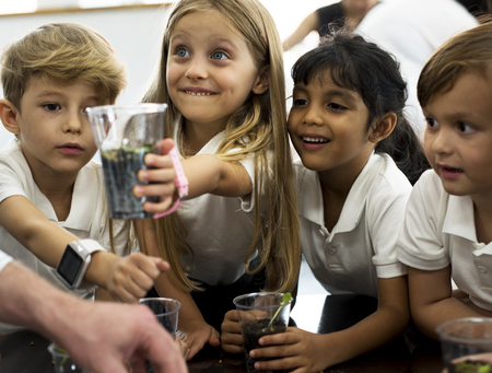 Group of diverse kindergarten students learning planting in science class